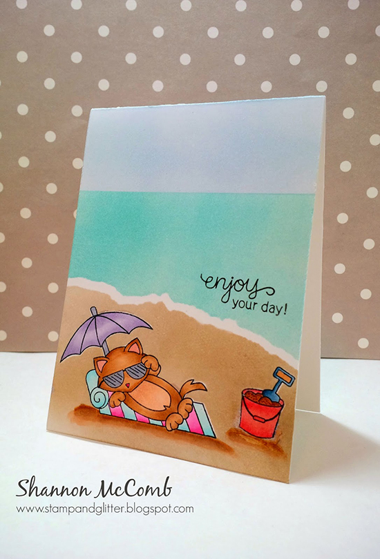 Cat on Beach card by Shannon McComb| Newton's Summer Vacation Stamp set by Newton's Nook Designs