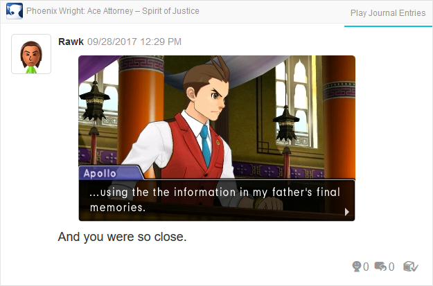 Phoenix Wright Ace Attorney Spirit of Justice Apollo double the typo father's final memories