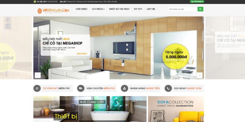 Mẫu website bán nội thất hiện đại