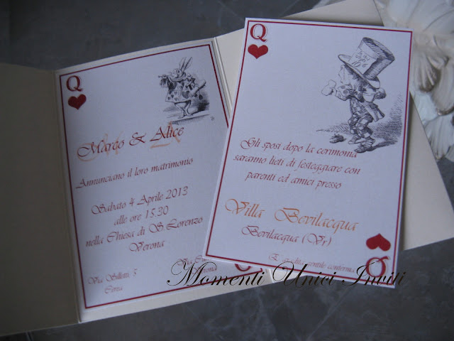 """alice Partecipazione pocket """"Alice in wonderland""""Partecipazioni Pocket"""
