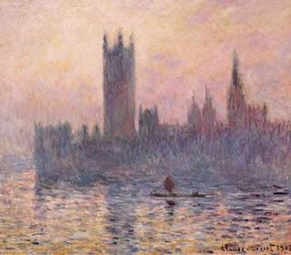 Le parlement à Londres avec un coucher de soleil - Claude Monet
