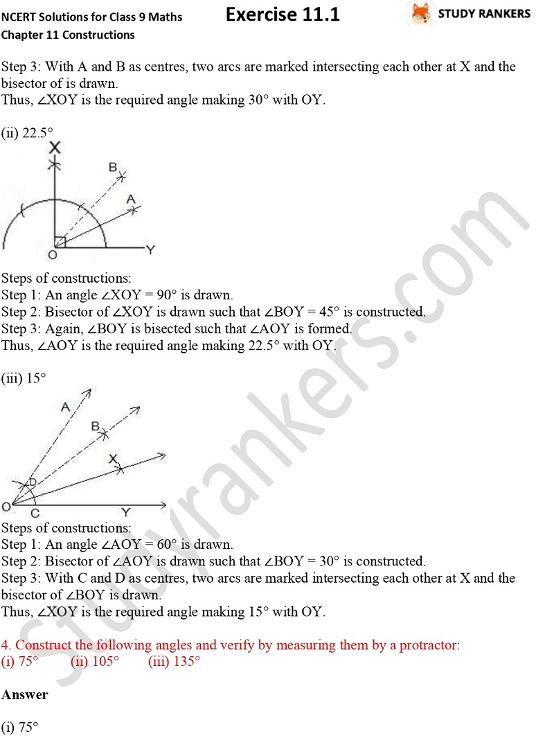 NCERT Solutions for Class 9 Maths Chapter 11 Constructions Exercise 11.1 Part 3