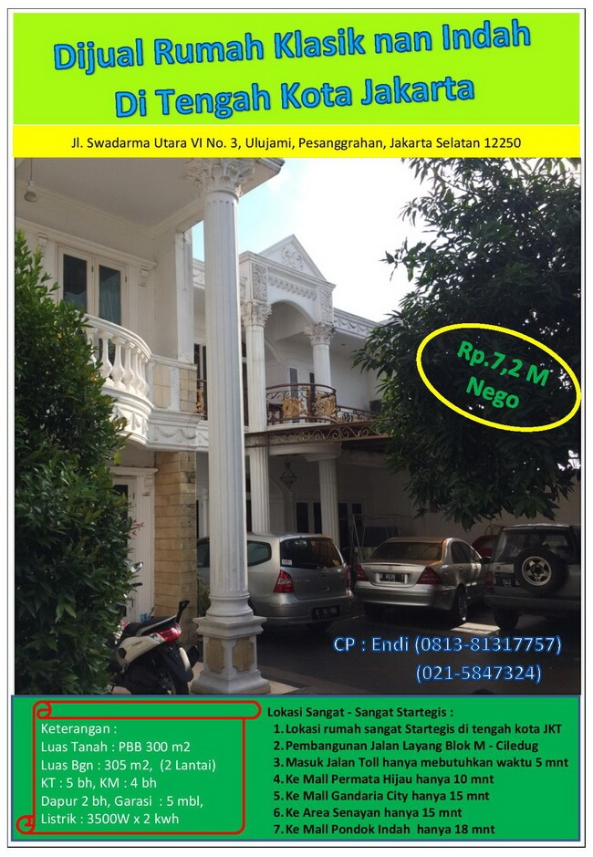 Dijual Murah Rumah Klasik Nan Indah Swadarma Ulujami Jakarta Selatan