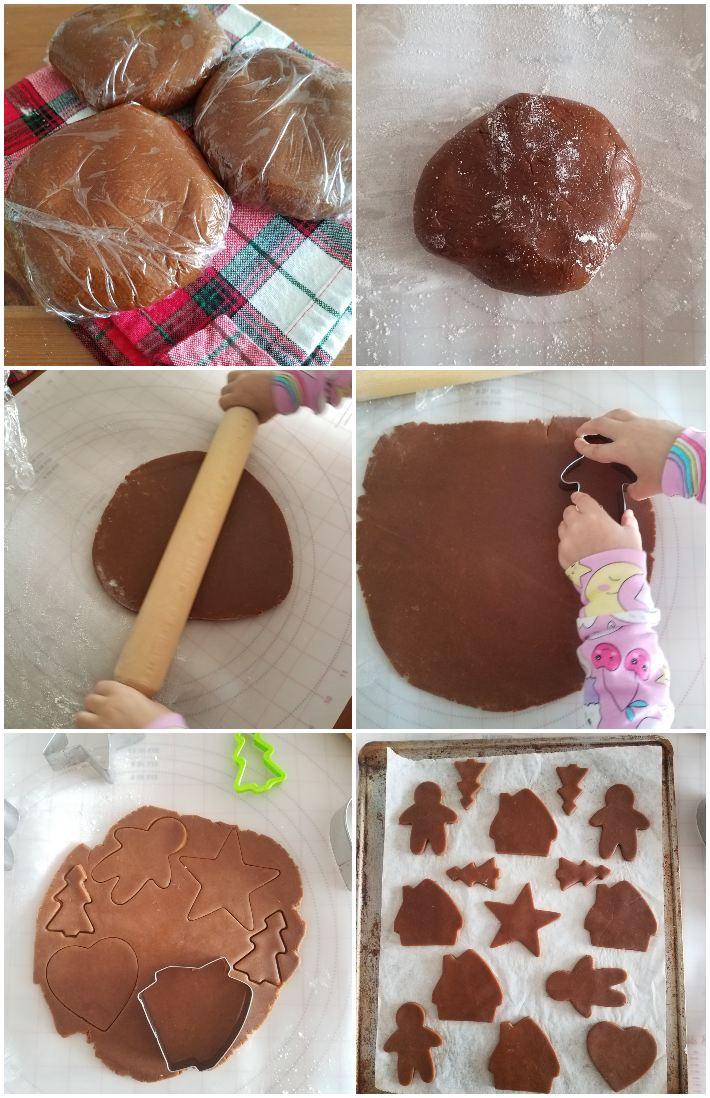 Cómo hacer las galletas de jengibre, tercer paso: cortar y hornear las galletas, collage de 6 fotos