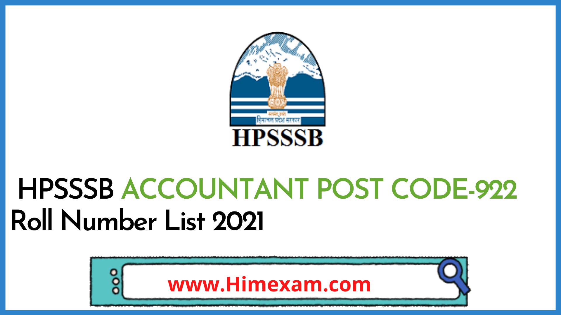 HPSSSB ACCOUNTANT POST CODE-922 Roll Number List 2021