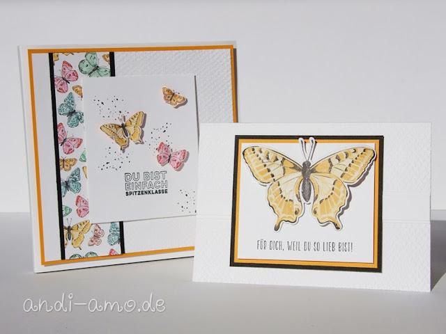 Geschenkset Karte und Verpackung mit Schmetterlingen