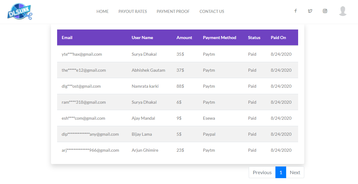 Dlslink Payment Withdraw Proof