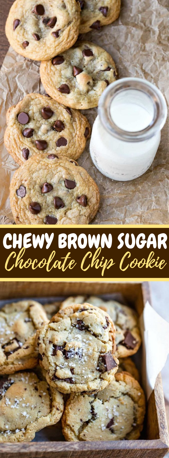 Chewy Brown Sugar Chocolate Chip Cookie Recipe #desserts #cookies