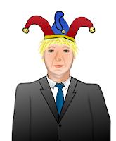 Boris Johnson as a fool, a cartoon by Wendy Cockcroft for On t'Internet