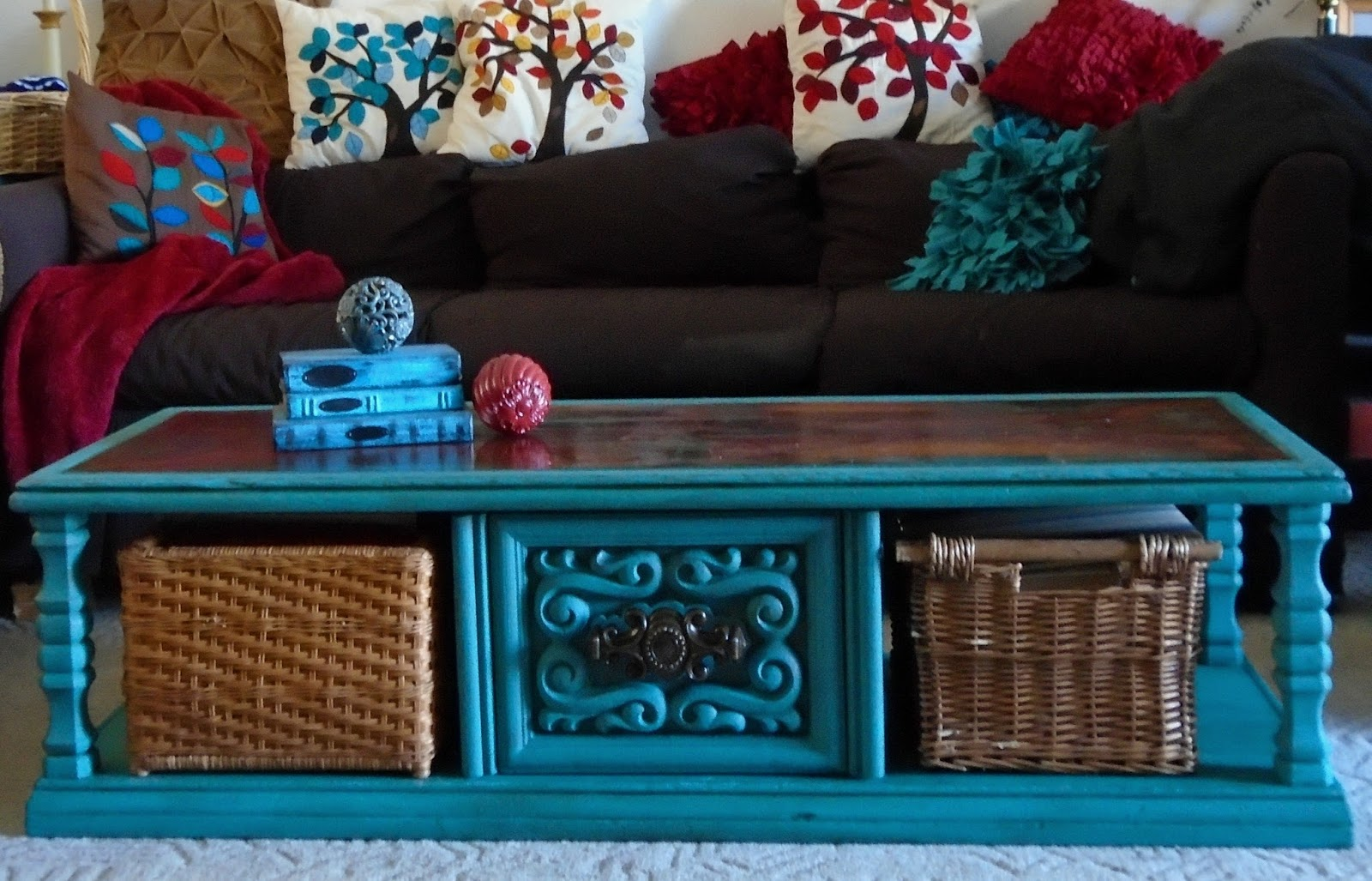 Turquoise Chalk Paint Coffee Table