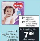 Jumbo pk. Huggies diapers cvs deal