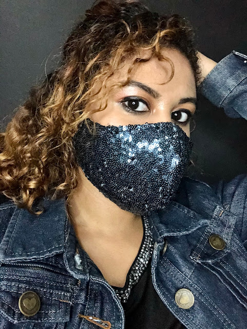 Life By Asha Singh wearing a sequins COVID-19 fabric mask