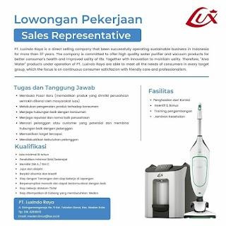 Sales Representative di PT Luxindo Raya
