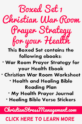Boxed Set 1 Christian War Room Prayer Strategy for your Health contains the following ebooks: * War Room Prayer Strategy for your Health Ebook  * Christian War Room Worksheet  * Health and Healing Bible Reading Plan  * My Health Prayer Journal  * Healing Bible Verse Stickers