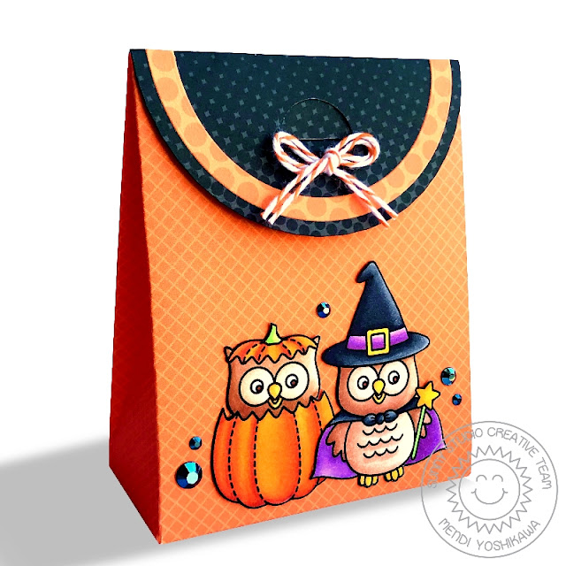 Sunny Studio Stamps: Sweet Treats Halloween Owl Pumpkin & Witch Gift Bag (using Happy Owl-o-ween Stamps, Gingham Jewel Tones, Dots & Stripes Jewel Tones and Heroic Halftones 6x6 Patterned Paper)