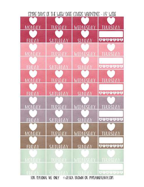 Free Printable Simple Days of the Week Heart Date Covers for the Vertical Erin Condren, Recollections Creative Year, & Classic Happy Planner Page 6 of 6 from myplannerenvy.com. Also available with a Circle instead of a Heart.