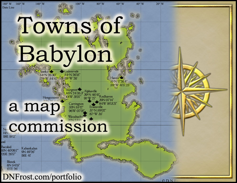 Towns of Babylon: mountains, lakes, and plotting coordinates http://www.dnfrost.com/2015/05/sheridans-towns-map-commission.html A map commission by D.N.Frost for Stephen Everett @DNFrost13 Part 3 of a series.