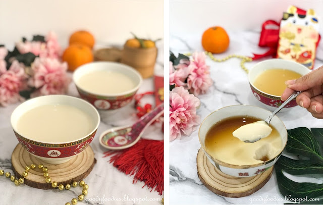 cold tau fu fah with ginger syrup