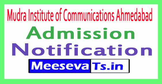 Mudra Institute of Communications Ahmedabad MICA Admission Notification