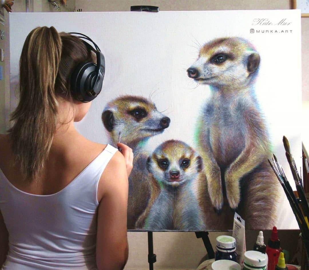 12-Meerkat-Kate-Mur-Animal-Art-with-Pencil-Ballpoint-Pen-and-Paint-www-designstack-co