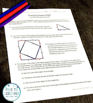 Pythagorean Theorem discovery worksheet