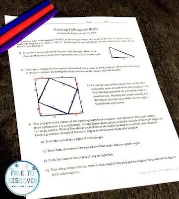 Pythagorean Theorem discovery worksheet
