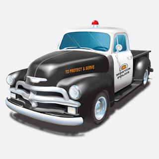 Illustration of Police 54 Chevy Pickup