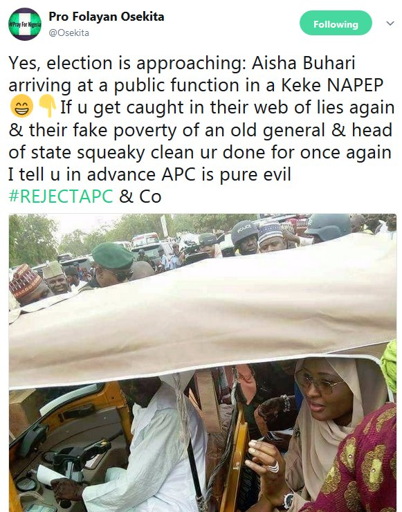 Don't Be Caught In Their Web Of Lies Again, Osekita Warn Nigerians As Aisha Buhari Goes About Like A Humble Fellow