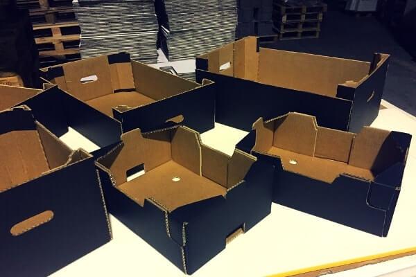 cajas para frutas y verduras montadas