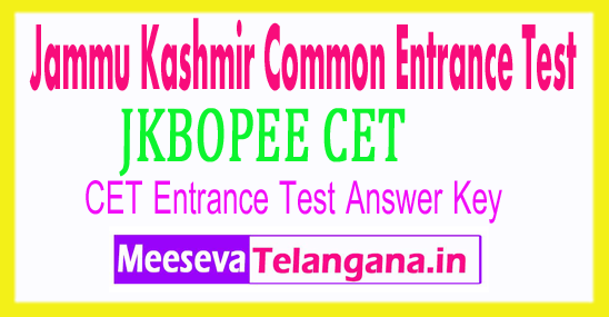 Jammu Kashmir Common Entrance Test CET Answer Key 2018 Download