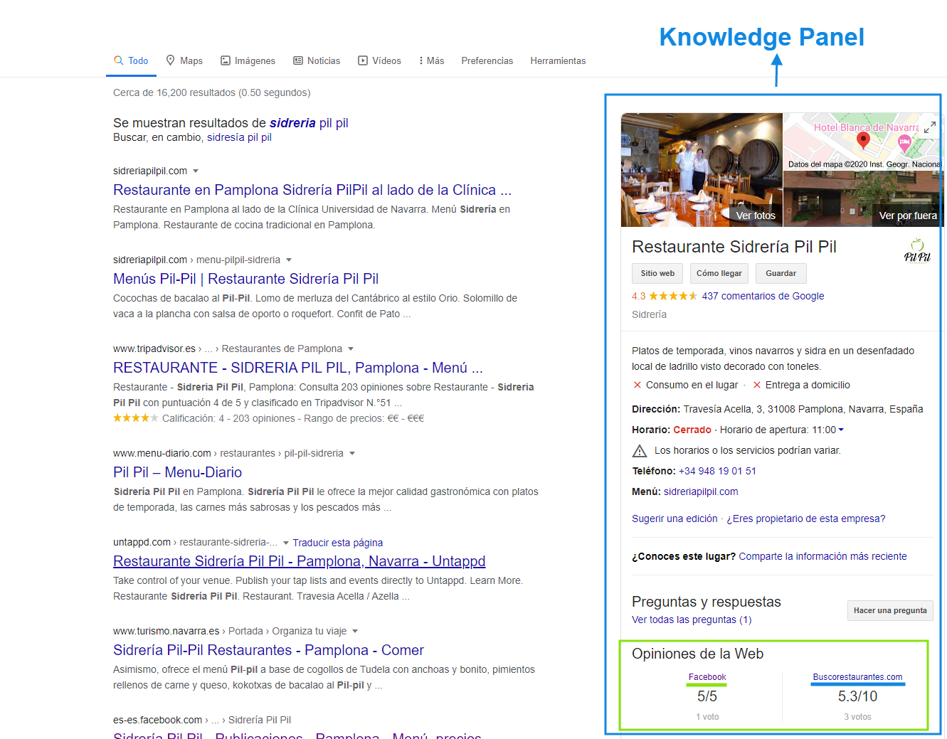 Knowledge Panel Reseñas