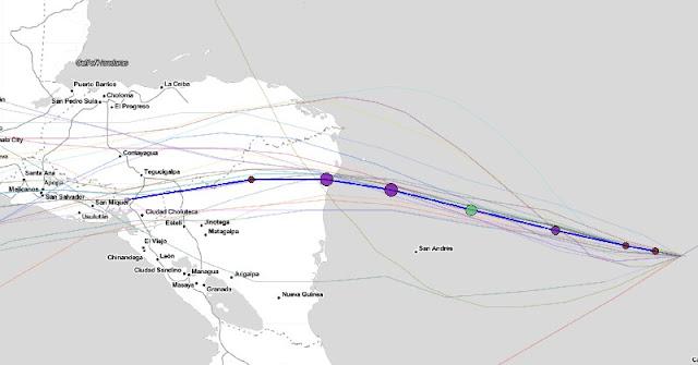 Iota cambia de ruta: impactaría a Nicaragua como huracán categoría 3; saldría al Pacífico. (Captura de pantalla Cycloane)