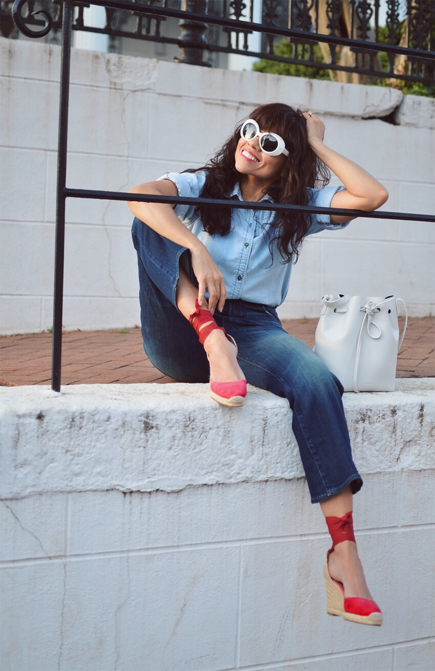 Cropped Flare jeans street style