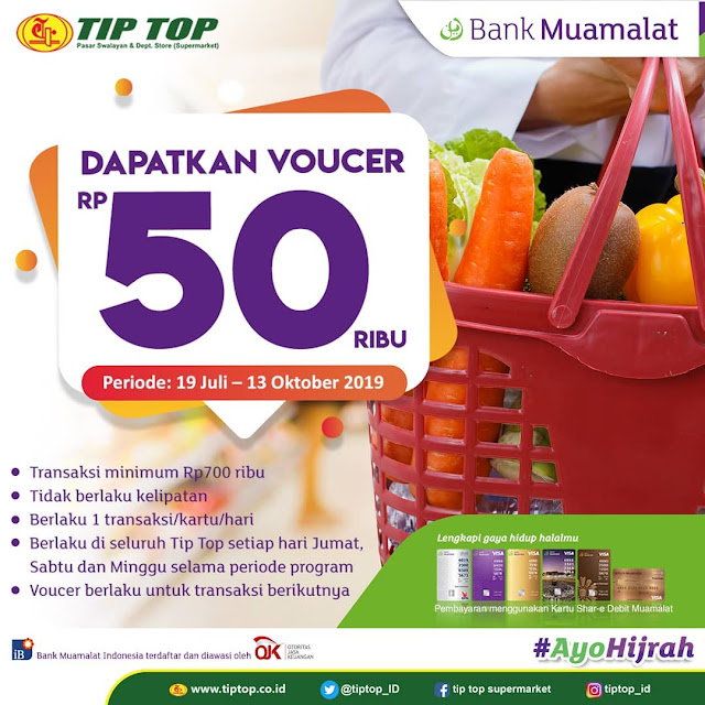 #TipTop - #Promo Voucher 50K Belanja Pakai Kartu Debit Bank Muamalat (s.d 13 Okt 2019)