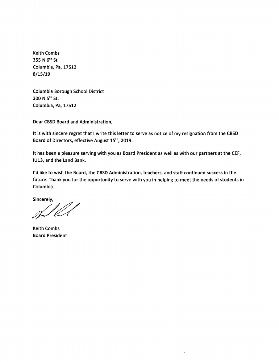 Columbia Acceptance Letter.Columbia Spy Columbia School Board President Abruptly