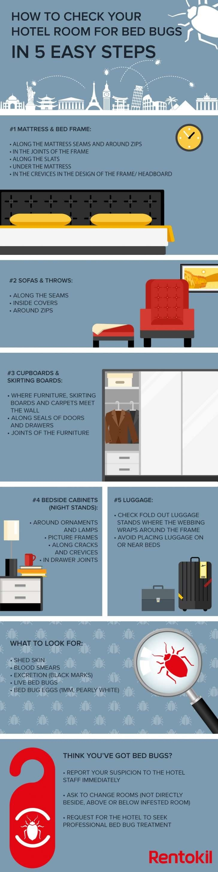 How to Check Your Hotel Room for Bed Bugs #Infographic