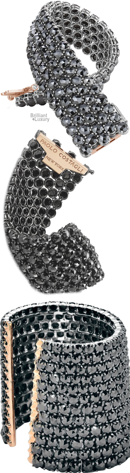 Brilliant Luxury♦Paolo Costagli Black Diamond Bracelet And Cuff With High Polish Rose Gold Detailing And Titanium Technology