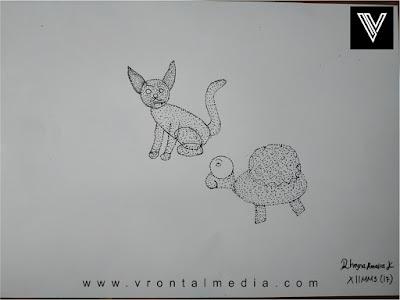 contoh gambar pointilis kucing dan kura kura