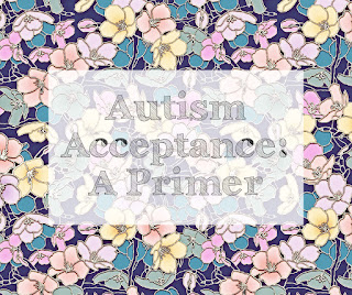 "Image Description:  The words ""Autism Acceptance: A Primer"" are printed in sketchy letters on a semi-transparent white square that's centered on a background of multi-colored flowers."