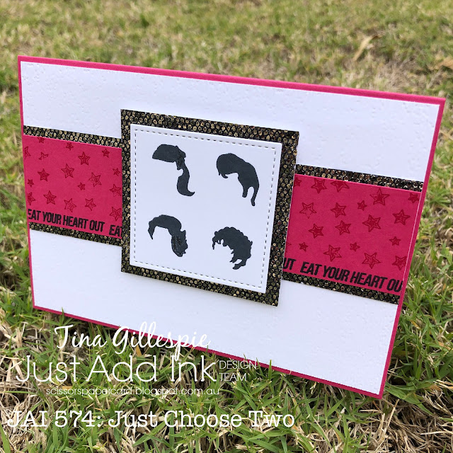 scissorspapercard, Stampin' Up!, Ink Road Stamps, Kindred Stamps, Just Add Ink, Eat Your Heart Out, Electrifying, Label Me Bold, Be Dazzling SP, Pop Culture Cards