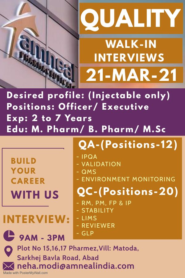 Amneal Pharma | Walk-In interview for QC/QA on 21st Mar 2021 at Ahmedabad
