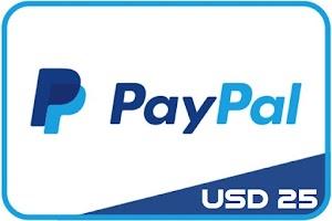Jual Saldo / Voucher PayPal USD 25 atau $25 atau 25 Dolar Murah