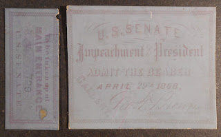 Ticket to Andrew Johnson Impeachment hearing