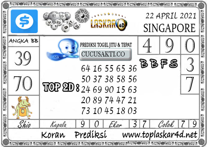 Prediksi Togel SINGAPORE LASKAR4D 22 APRIL 2021
