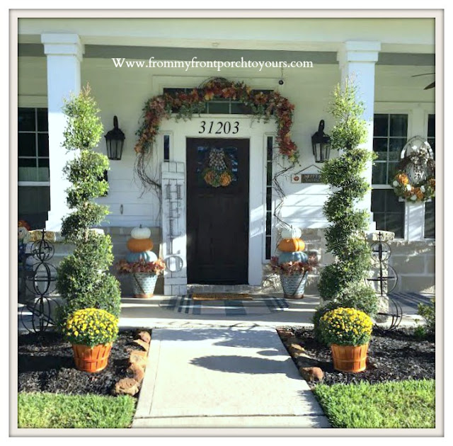Fall- Porch-2019-mums-stacked-pumpkins-From My Front Porch To Yours