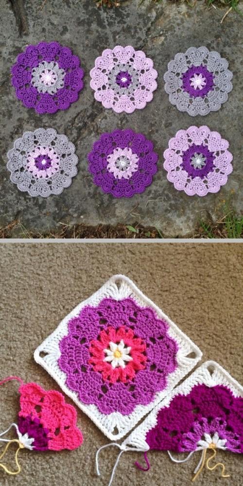 Heart Mandala Square - Free Pattern