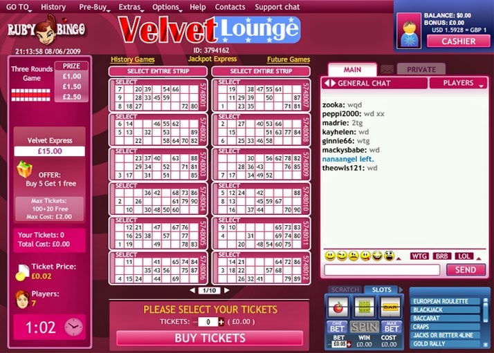 Ruby Bingo Velvet Room Screen