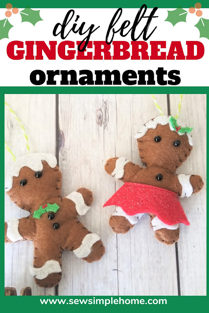 Free sewing pattern and SVG cut file for gingerbread man felt Christmas ornament pattern.