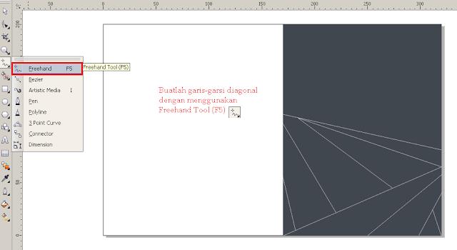 Cara Membuat Desain Cover Buku dengan CorelDRAW X4, garis diagonal.