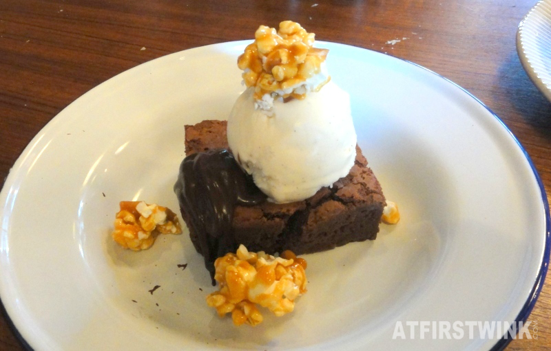 Jamie's Italian Markthal epic brownie caramelized popcorn chocolate sauce vanilla ice cream